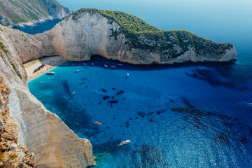 Shipwreck navagio beach in cove on Greek Zakynthos Island
