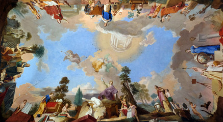 Fresco painting on the ceiling of the Library in Amorbach Benedictine abbey in Lower Franconia, Bavaria, Germany