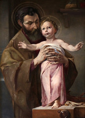 Saint Joseph holding child Jesus, altarpiece in chapel in Hinterbrand, Germany