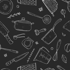 Seamless vector pattern of elements with hand drawn kitchenware on a chalkboard background