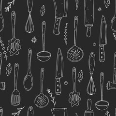 Seamless vector pattern of elements with hand drawn kitchen tools on a chalkboard background.