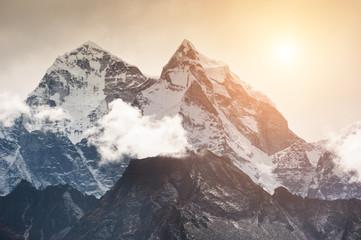 View of Mount Kangtega in Himalaya mountains at sunset, Nepal