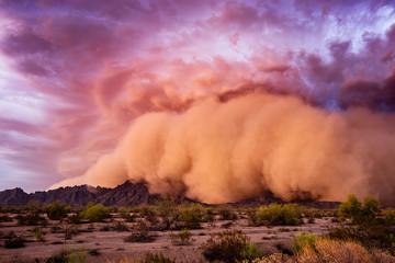 Haboob dust storm in the Arizona desert.