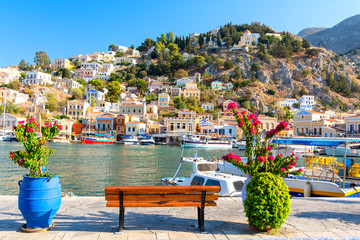 typical greek landscape in Symi island, Dodecanese, Greece