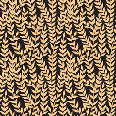 Floral seamless pattern with leaves. Plant texture for fabric, wrapping, wallpaper and paper. Trendy golden luxury background, vector.