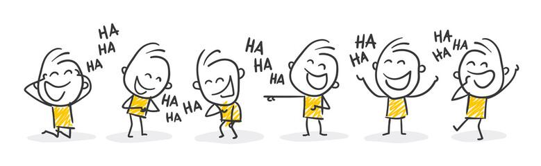Strichfiguren / Strichmännchen: Lachen, auslachen, Spaß. (Nr. 366)