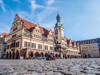 Leipziger Rathaus mit Marktplatz