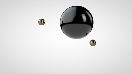 3D illustration of a black, glossy ball surrounded by two small balls isolated on a white background. Abstract representation of geometric shapes. 3D rendering