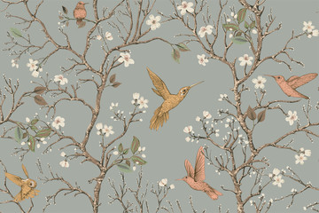 Vector colorful pattern with birds and flowers. Hummingbirds and flowers, retro style, floral backdrop. Spring, summer flower design for web, wrapping paper, cover, textile, fabric, wallpaper