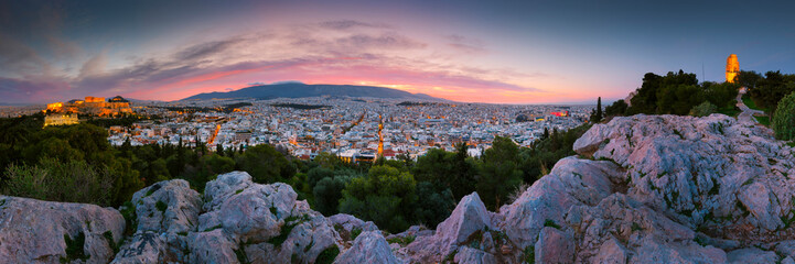 View of Acropolis from Filopappou hill at sunrise, Greece.