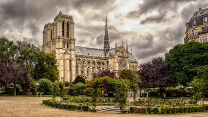 View of the Cathedral of Notre Dame de Paris from old city park before the storm. Paris, France.