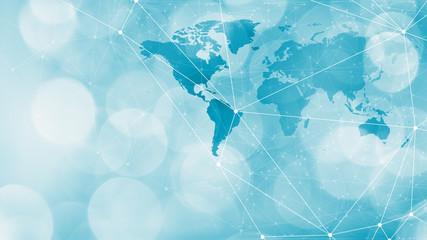 Future world communication technology design lines, circles and world map