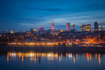 Panorama of skyscrapers in the center of Warsaw at night, Poland