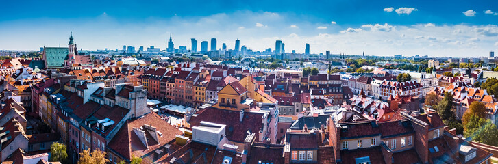 Panoramic view of Warsaw in a summer day n Poland. Old town and Center of Twon