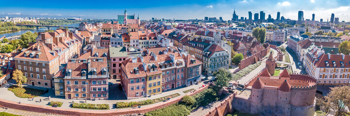 Panoramic view of Warsaw in a summer day n Poland. Old town and Center of Town
