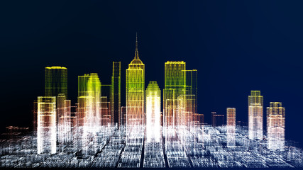 Future cyber business city and city energy technology concept, neon color city architecture model color changing, 3D Rendering for presentation