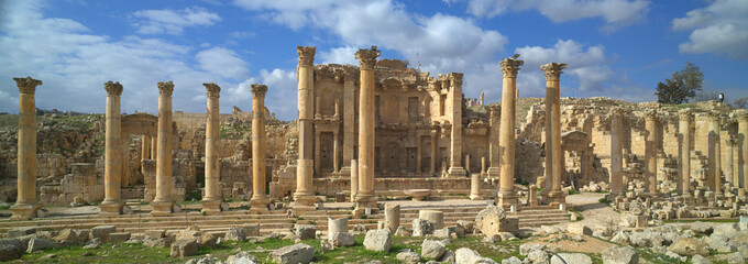 Ancient Jerash, ruins and colonnade of the Greco-Roman city of Gera at Jordan