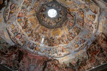 Panoramic view of Judgment Day on cupola of Cattedrale di Santa Maria del Fiore