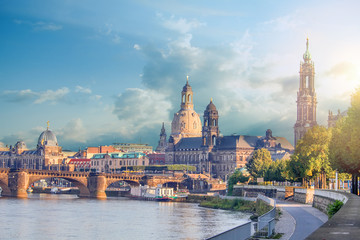 Cityscape Of Dresden At Elbe River And Augustus Bridge, Dresden, Saxony, Germany