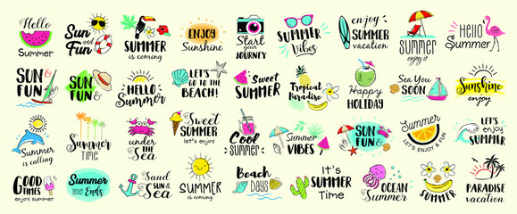 Big set of Summer labels, logos, hand drawn tags and elements for summer holiday, travel, beach vacation, sun. Vector illustration.