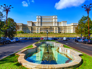 Famous Parliament and Government landmark in Bucharest in a beautiful sunny  day of spring in Romania