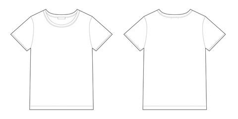 Technical sketch unisex black t-shirt design template.