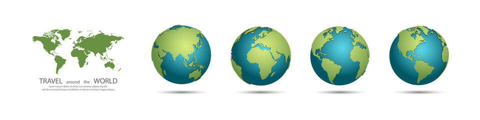 Earth Globes collection. Set of 3d earth globes with shadow. Travel around the world concept