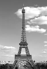 Wieża Eiffla w Paryżu Francja z czarno-białym efektem