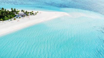 Piękny widok z lotu ptaka Malediwy i tropikalnej plaży. Koncepcja podróży i wakacji