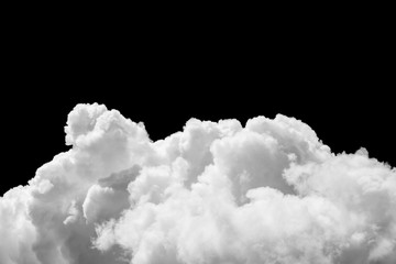 White clouds on black sky isolated