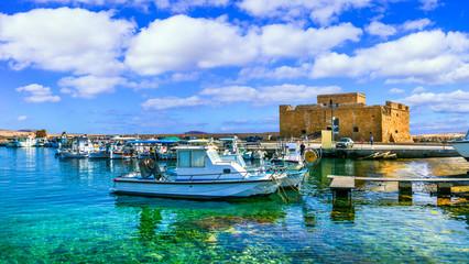 Cyprus landmarks - castle in Paphos town, popular tourist destination