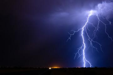 Lightning bolt strike from a storm