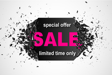 Promo banner design template with explosion effect. Special offer sale limited time only abstract Background. Vector illustration.