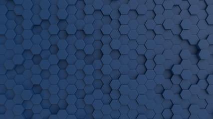 Hexagonal dark blue background texture. 3d illustration, 3d rendering