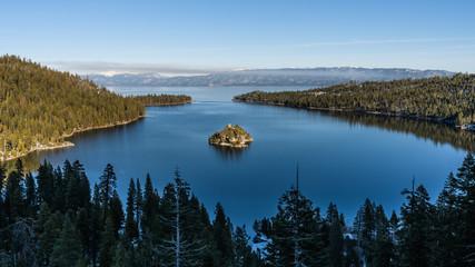 Aussicht auf Emerald Bay und Fannette Island, Lake Tahoe, Kalifornien, USA