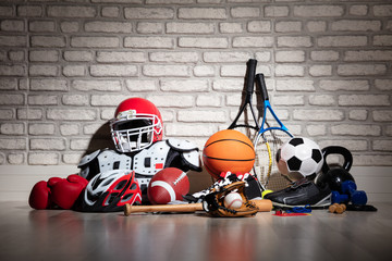 Sports Equipment On Floor