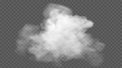 Przezroczysty efekt specjalny wyróżnia się mgłą lub dymem. Wektor chmura biały, mgła lub smog