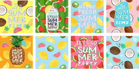 Hello summer! Posters for a fun club party. Set of cute vector illustrations of ice cream, tropical fruits, soda, pineapple, lemon, coconut, watermelon, cocktail for background, card, cover or banner.
