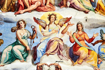 the Last Judgment fresco painted 1572 by Giorgio Vasari in the dome of the cathedral of Florence, Italy