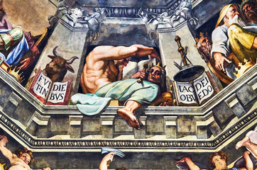 fresco painted by Giorgio Vasari 1572 in the dome of the cathedral of Florence, Italy