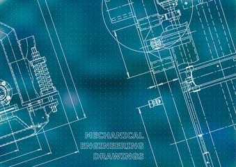 Blueprint, Sketch. Vector engineering illustration. Cover, flyer, banner, Blue background. Points. Instrument-making drawings. Mechanical engineering drawing. Technical
