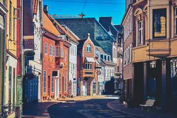 Beautiful Streets of the Old City. Odense, Denmark.