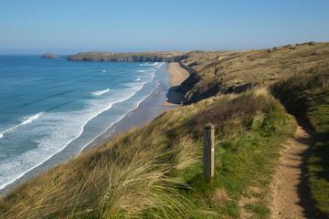 South west coast path view to Perran sands beach near Perranporth North Cornwall England