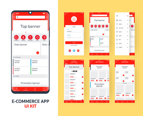 online e-commerce app UI kit for responsive mobile app with different GUI layout including Login, main page, categories , promotion page screens, red themes