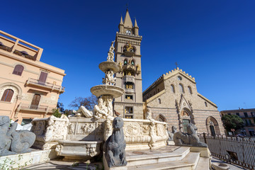 MESSINA, ITALY - NOVEMBER, 06 - Messina Duomo Cathedral with astronomical clock and fountain of Orion