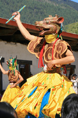 Dancer at a religious festival in Gangtey (Bhutan)