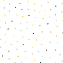 Abstract seamless pattern with colorful spots. Perfect for kids fabric, textile, nursery wallpaper. Vector illustration.