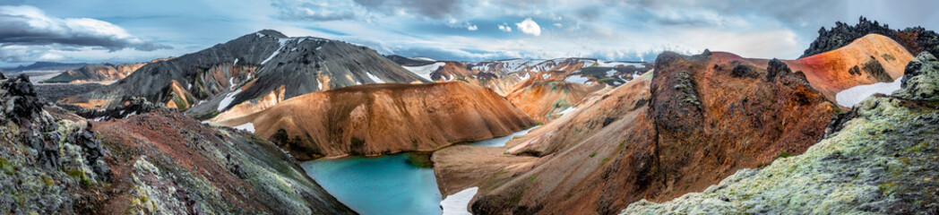 Panoramic view of colorful rhyolite volcanic mountains Landmannalaugar as pure wilderness in Iceland