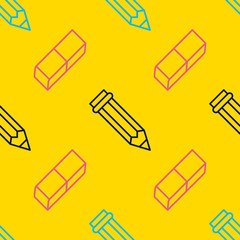 Seamless pattern with pen, eraser line icons. Work tools background, writing illustration. Yellow wallpaper for stationery sale brochure