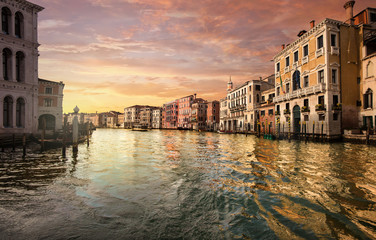Canale Grande at sunset in Venice Italy